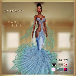 TD Miraj Gown with Appliers Azul