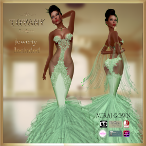 TD Miraj Gown with Appliers Green
