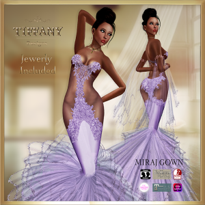 TD Miraj Gown with Appliers Purple