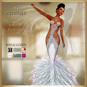 TD Miraj Gown with Appliers White