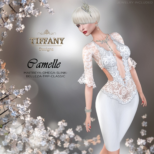 TD Camelle Dress with Appliers White