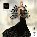 TD Solstice Gown with Appliers Black