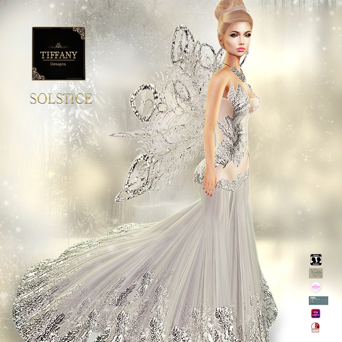 TD Solstice Gown with Appliers Silver