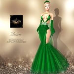 TD Desire Gown with Appliers Dark Green