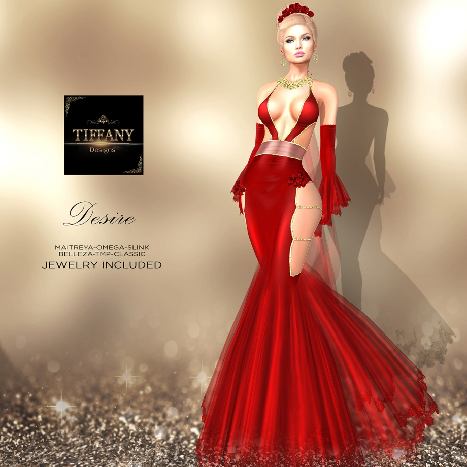 TD Desire Gown with Appliers Red