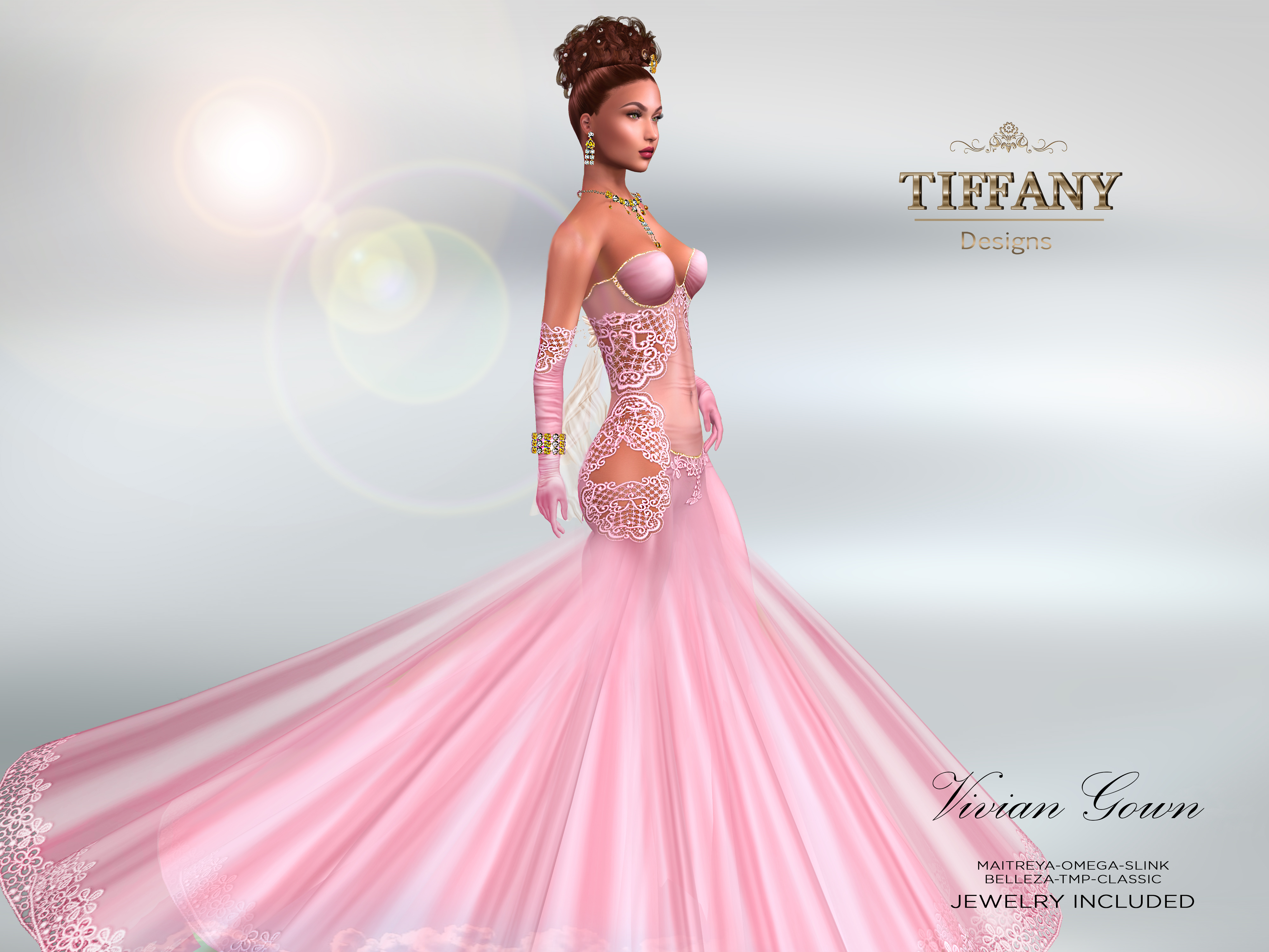 TD Vivian Gown with Appliers – Pink |